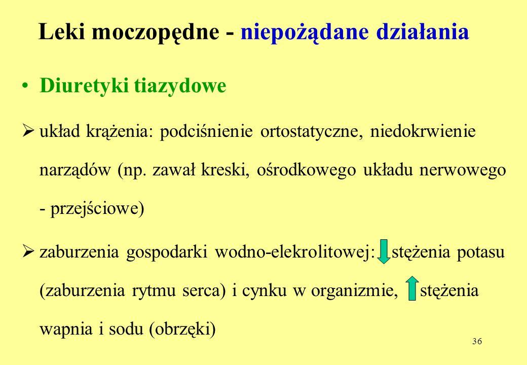 36 Leki moczopędne - niepożądane działania Diuretyki tiazydowe układ krążenia: podciśnienie ortostatyczne, niedokrwienie narządów (np.