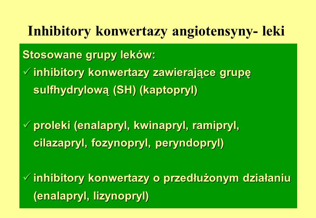 5 Inhibitory konwertazy angiotensyny- leki Stosowane grupy leków: inhibitory konwertazy zawierające grupę sulfhydrylową (SH) (kaptopryl) inhibitory konwertazy zawierające grupę sulfhydrylową (SH) (kaptopryl) proleki (enalapryl, kwinapryl, ramipryl, cilazapryl, fozynopryl, peryndopryl) proleki (enalapryl, kwinapryl, ramipryl, cilazapryl, fozynopryl, peryndopryl) inhibitory konwertazy o przedłużonym działaniu (enalapryl, lizynopryl) inhibitory konwertazy o przedłużonym działaniu (enalapryl, lizynopryl)