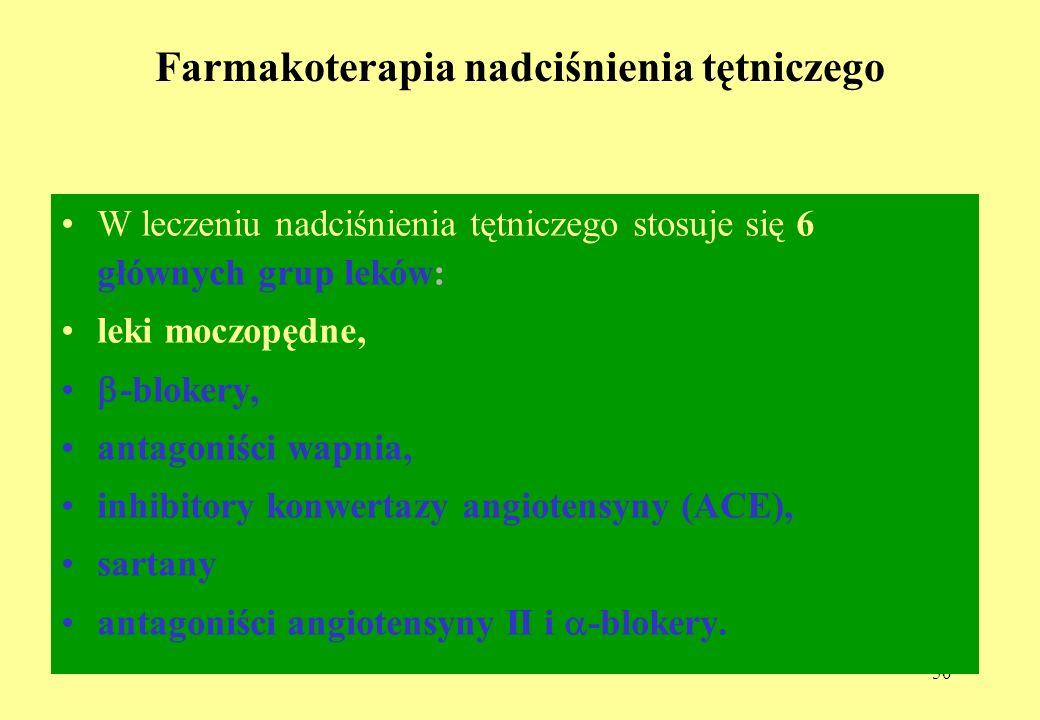 50 Farmakoterapia nadciśnienia tętniczego W leczeniu nadciśnienia tętniczego stosuje się 6 głównych grup leków: leki moczopędne, -blokery, antagoniści wapnia, inhibitory konwertazy angiotensyny (ACE), sartany antagoniści angiotensyny II i -blokery.