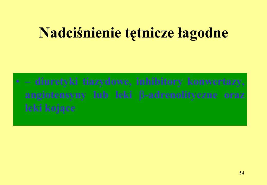54 Nadciśnienie tętnicze łagodne – diuretyki tiazydowe, inhibitory konwertazy, angiotensyny lub leki -adrenolityczne oraz leki kojące
