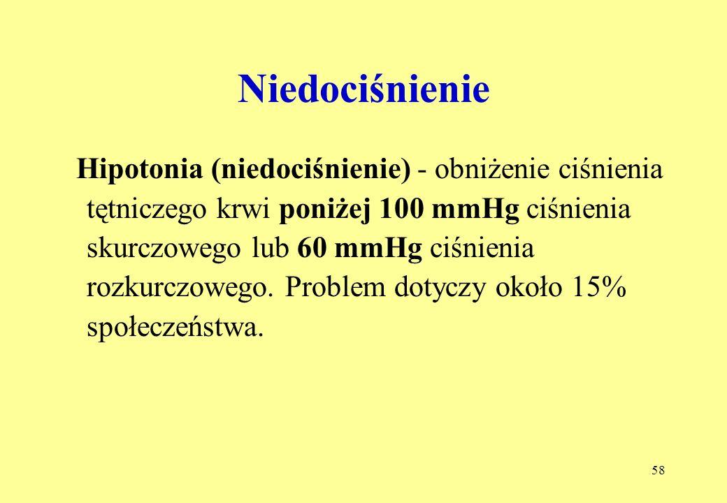 58 Niedociśnienie Hipotonia (niedociśnienie) - obniżenie ciśnienia tętniczego krwi poniżej 100 mmHg ciśnienia skurczowego lub 60 mmHg ciśnienia rozkurczowego.