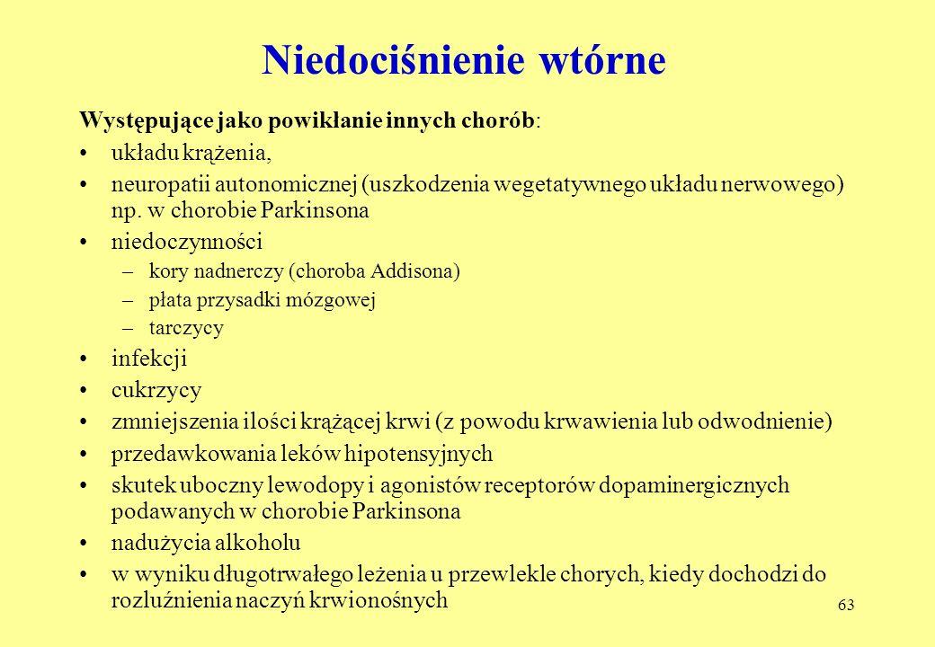 63 Niedociśnienie wtórne Występujące jako powikłanie innych chorób: układu krążenia, neuropatii autonomicznej (uszkodzenia wegetatywnego układu nerwowego) np.