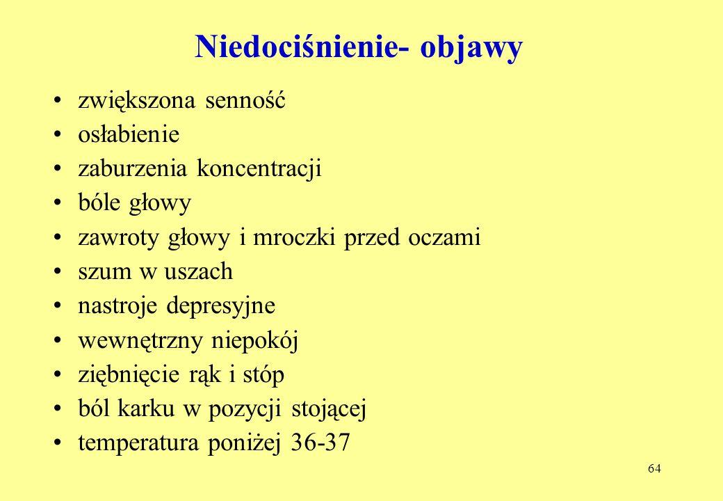 64 Niedociśnienie- objawy zwiększona senność osłabienie zaburzenia koncentracji bóle głowy zawroty głowy i mroczki przed oczami szum w uszach nastroje depresyjne wewnętrzny niepokój ziębnięcie rąk i stóp ból karku w pozycji stojącej temperatura poniżej 36-37