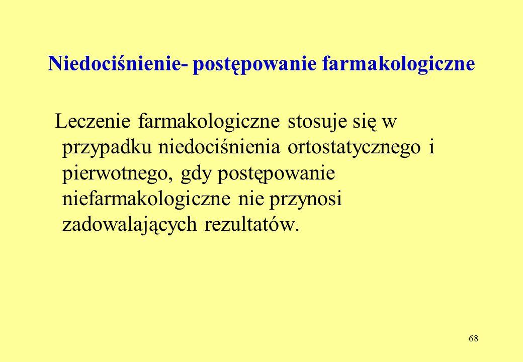68 Niedociśnienie- postępowanie farmakologiczne Leczenie farmakologiczne stosuje się w przypadku niedociśnienia ortostatycznego i pierwotnego, gdy postępowanie niefarmakologiczne nie przynosi zadowalających rezultatów.