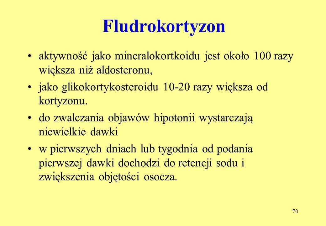 70 Fludrokortyzon aktywność jako mineralokortkoidu jest około 100 razy większa niż aldosteronu, jako glikokortykosteroidu 10-20 razy większa od kortyzonu.
