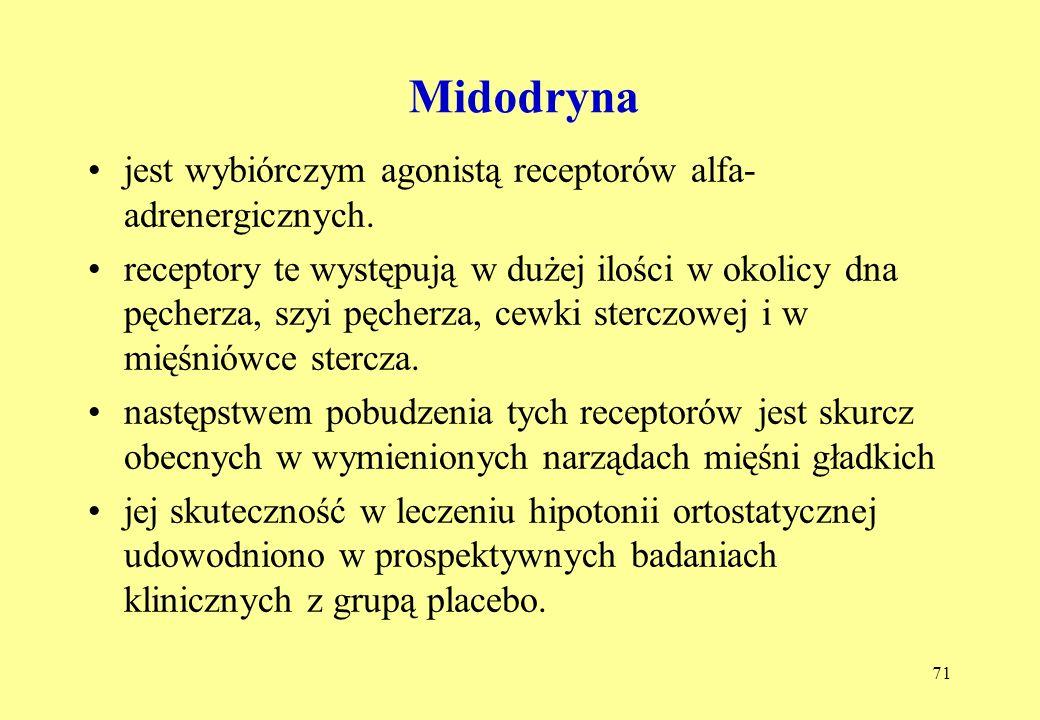 71 Midodryna jest wybiórczym agonistą receptorów alfa- adrenergicznych.
