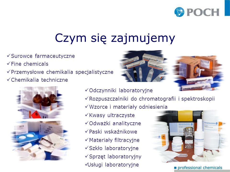 Co produkujemy Oddział PZ Związki metali szlachetnych Związki srebra Związki selenu Oddział PC Surowce farmaceutyczne Związki nieorganiczne Związki organiczne Rozpuszczalniki Wskaźniki Oddział PS Gotowe formy użytkowe dla laboratoriów