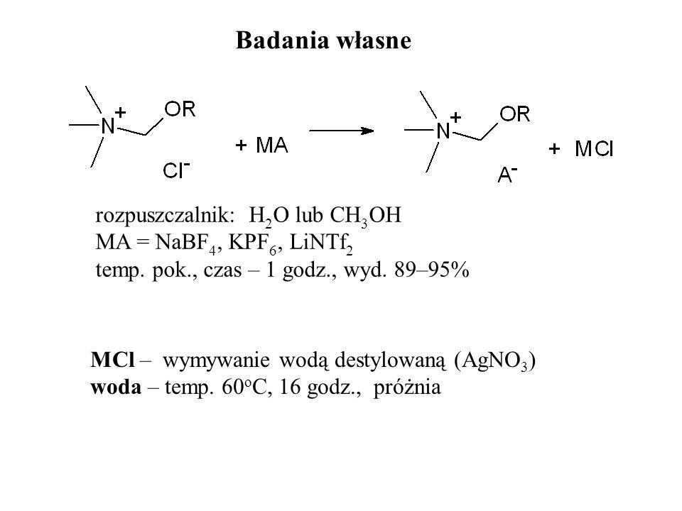 Badania własne rozpuszczalnik: H 2 O lub CH 3 OH MA = NaBF 4, KPF 6, LiNTf 2 temp. pok., czas – 1 godz., wyd. 89–95% MCl – wymywanie wodą destylowaną