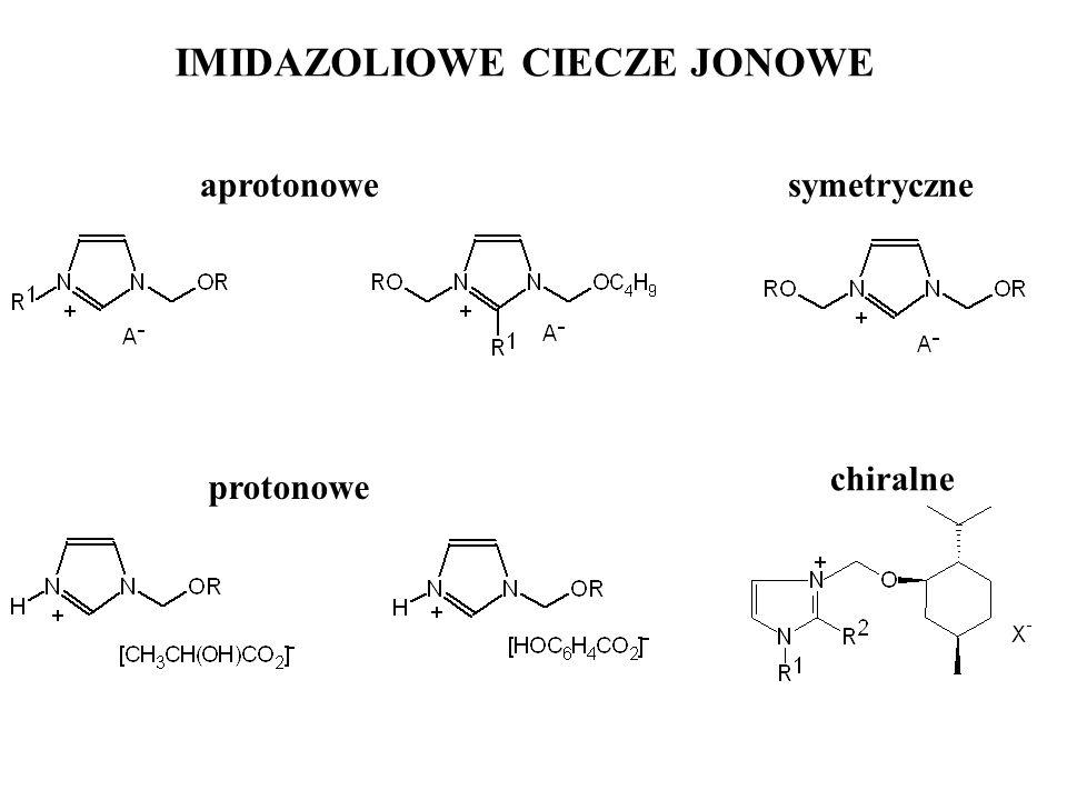 IMIDAZOLIOWE CIECZE JONOWE aprotonowesymetryczne protonowe chiralne
