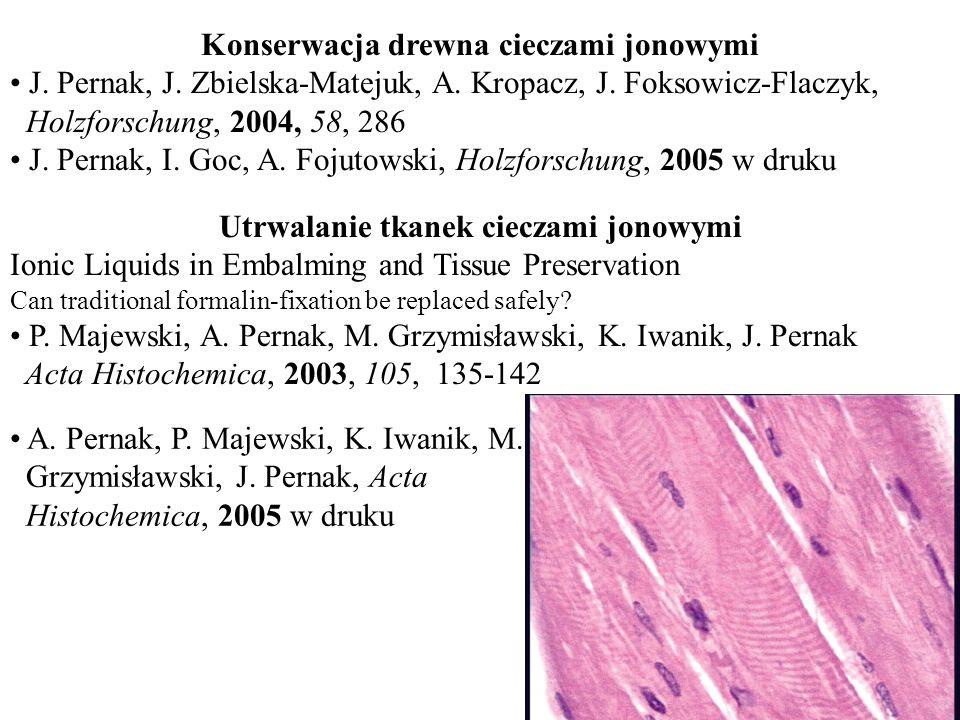 Konserwacja drewna cieczami jonowymi J. Pernak, J. Zbielska-Matejuk, A. Kropacz, J. Foksowicz-Flaczyk, Holzforschung, 2004, 58, 286 J. Pernak, I. Goc,