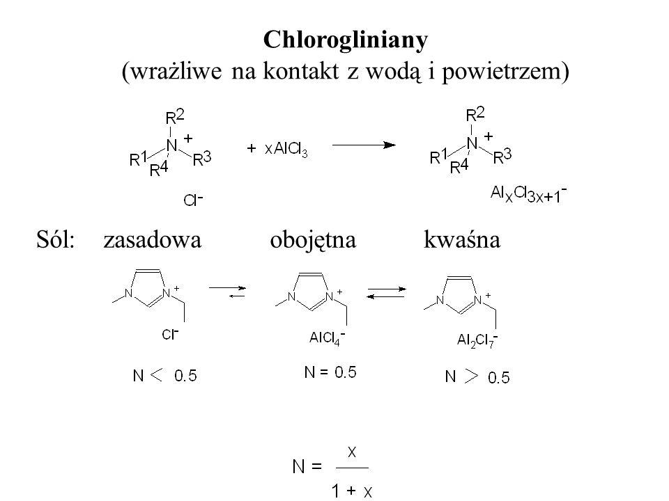 Chlorogliniany (wrażliwe na kontakt z wodą i powietrzem) Sól: zasadowa obojętna kwaśna