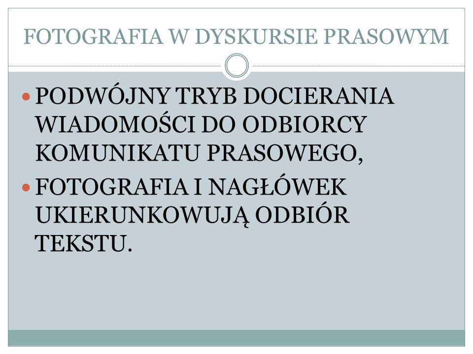 FOTOGRAFIA W DYSKURSIE PRASOWYM PODWÓJNY TRYB DOCIERANIA WIADOMOŚCI DO ODBIORCY KOMUNIKATU PRASOWEGO, FOTOGRAFIA I NAGŁÓWEK UKIERUNKOWUJĄ ODBIÓR TEKSTU.