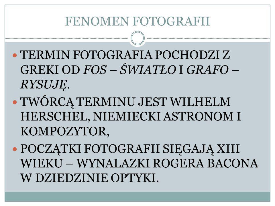 TERMIN FOTOGRAFIA POCHODZI Z GREKI OD FOS – ŚWIATŁO I GRAFO – RYSUJĘ.