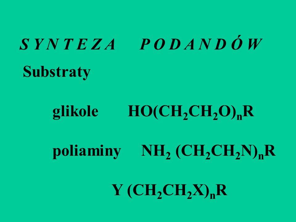 S Y N T E Z A P O D A N D Ó W Substraty glikole HO(CH 2 CH 2 O) n R poliaminyNH 2 (CH 2 CH 2 N) n R Y (CH 2 CH 2 X) n R