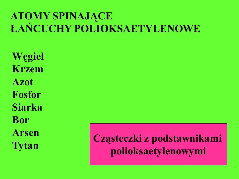 ATOMY SPINAJĄCE ŁAŃCUCHY POLIOKSAETYLENOWE Węgiel Krzem Azot Fosfor Siarka Bor Arsen Tytan Cząsteczki z podstawnikami polioksaetylenowymi