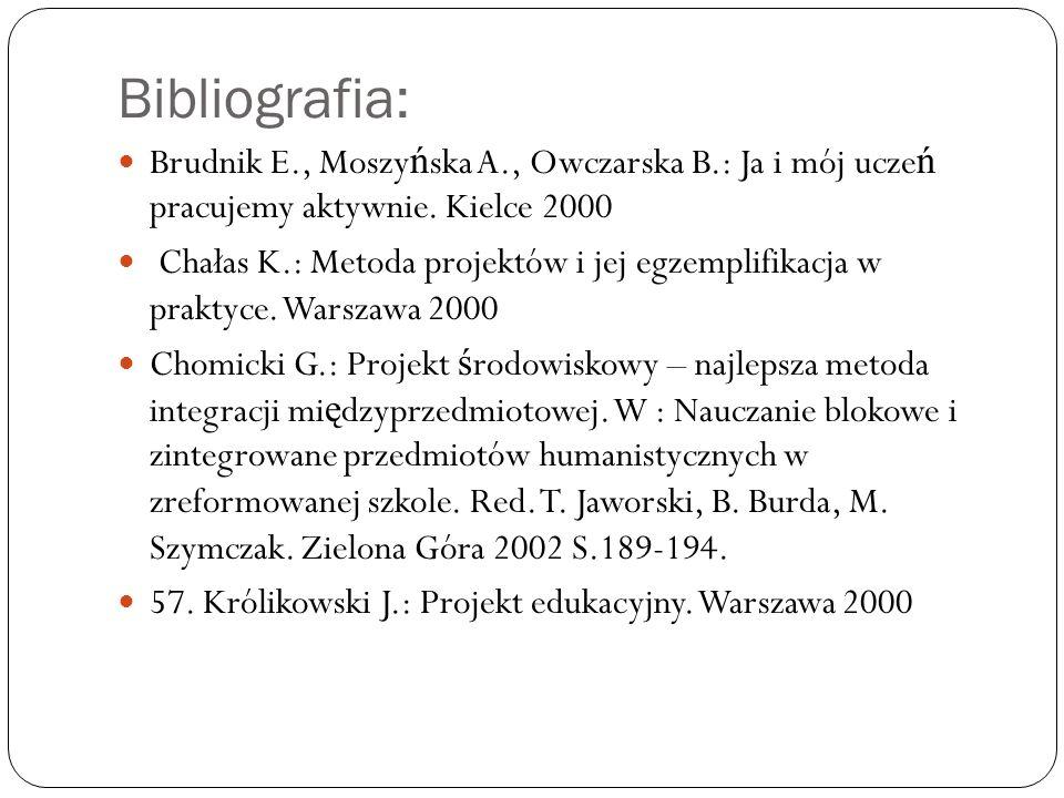 Bibliografia: Brudnik E., Moszy ń ska A., Owczarska B.: Ja i mój ucze ń pracujemy aktywnie.