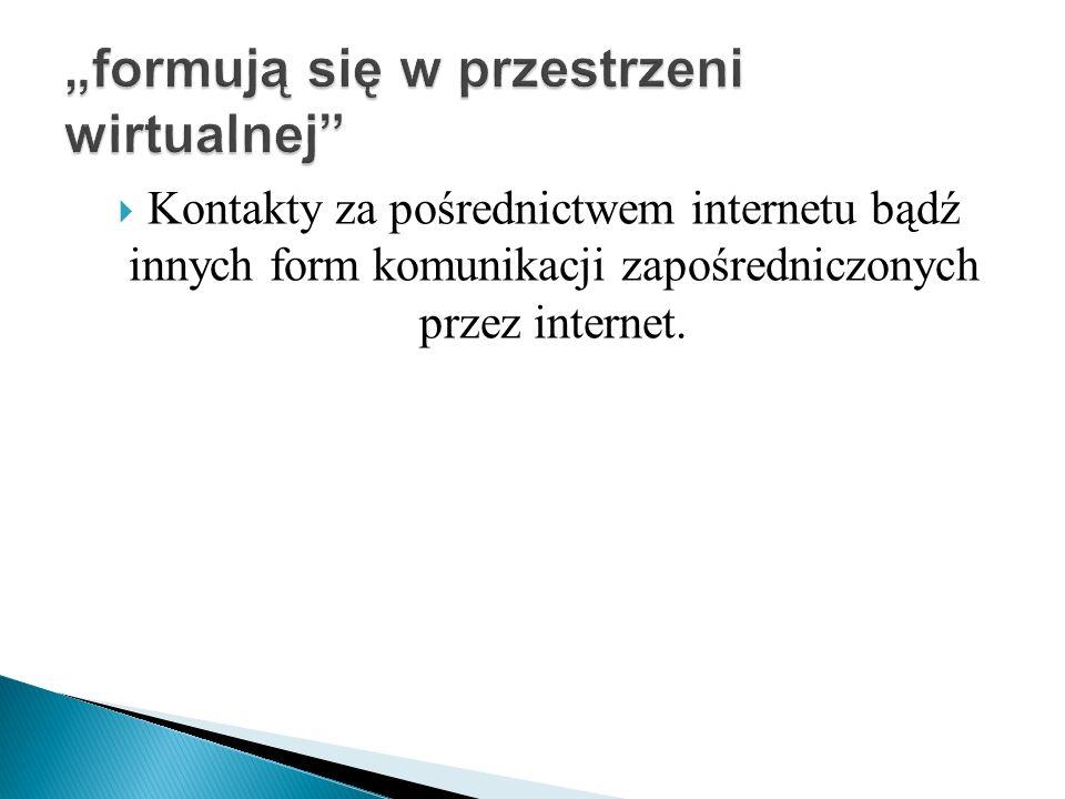 Kontakty za pośrednictwem internetu bądź innych form komunikacji zapośredniczonych przez internet.