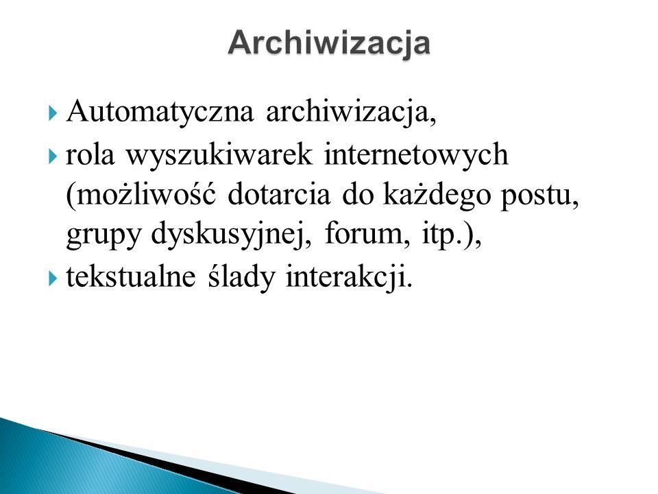 Automatyczna archiwizacja, rola wyszukiwarek internetowych (możliwość dotarcia do każdego postu, grupy dyskusyjnej, forum, itp.), tekstualne ślady interakcji.