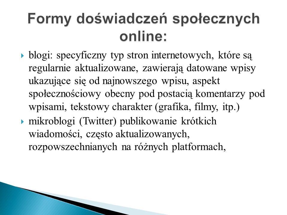 blogi: specyficzny typ stron internetowych, które są regularnie aktualizowane, zawierają datowane wpisy ukazujące się od najnowszego wpisu, aspekt spo