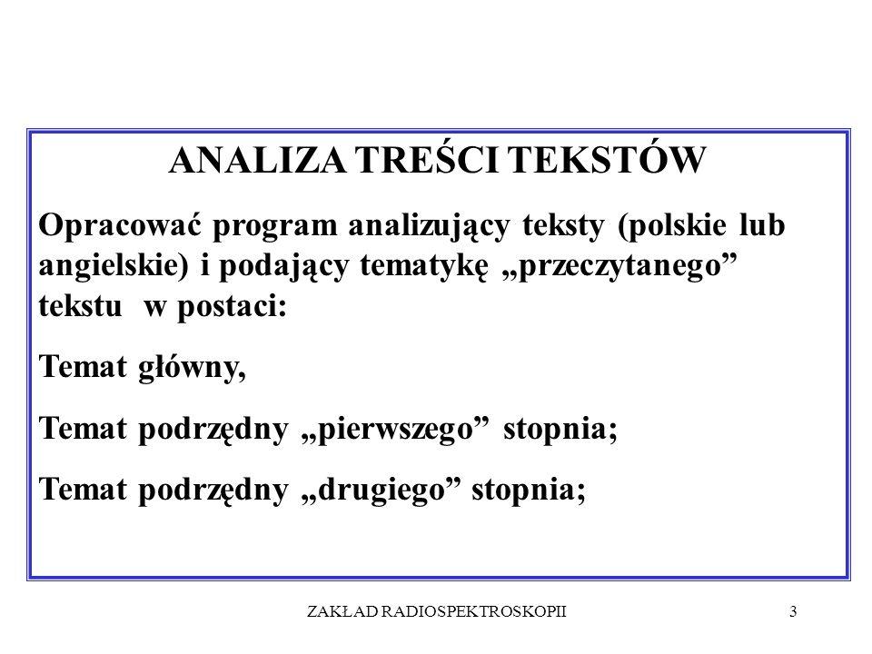 ZAKŁAD RADIOSPEKTROSKOPII3 ANALIZA TREŚCI TEKSTÓW Opracować program analizujący teksty (polskie lub angielskie) i podający tematykę przeczytanego teks
