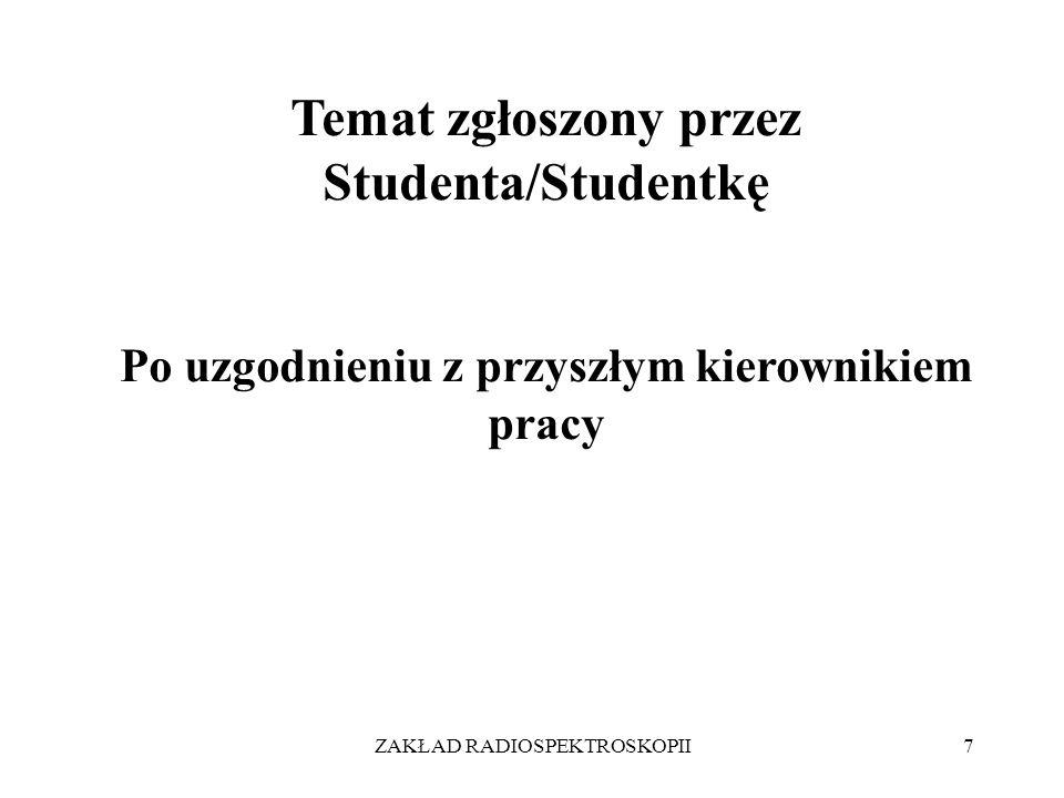 ZAKŁAD RADIOSPEKTROSKOPII7 Temat zgłoszony przez Studenta/Studentkę Po uzgodnieniu z przyszłym kierownikiem pracy
