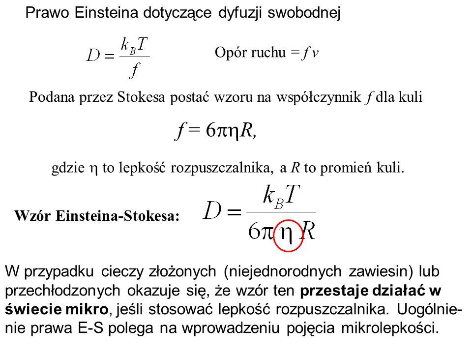 Prawo Einsteina dotyczące dyfuzji swobodnej Opór ruchu = f v Podana przez Stokesa postać wzoru na współczynnik f dla kuli f = 6 R, gdzie to lepkość ro