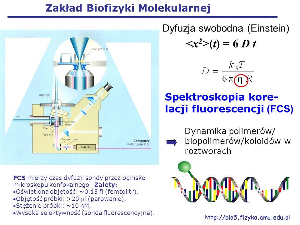 Spektroskopia kore- lacji fluorescencji (FCS) FCS mierzy czas dyfuzji sondy przez ognisko mikroskopu konfokalnego –Zalety: Oświetlona objętość: ~0.15