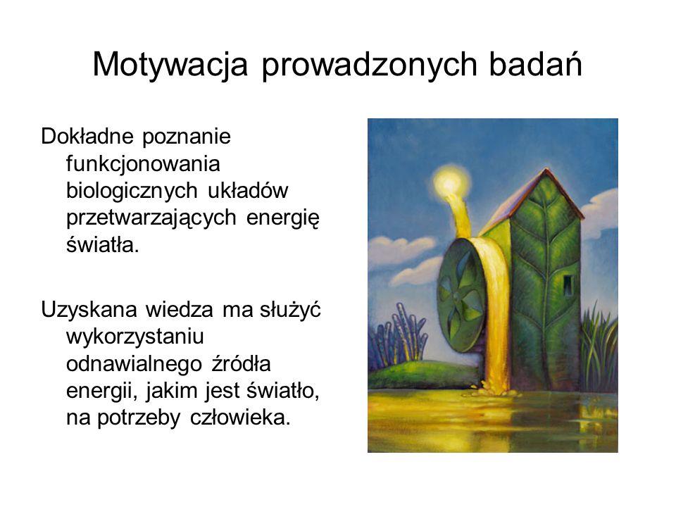 Motywacja prowadzonych badań Dokładne poznanie funkcjonowania biologicznych układów przetwarzających energię światła. Uzyskana wiedza ma służyć wykorz