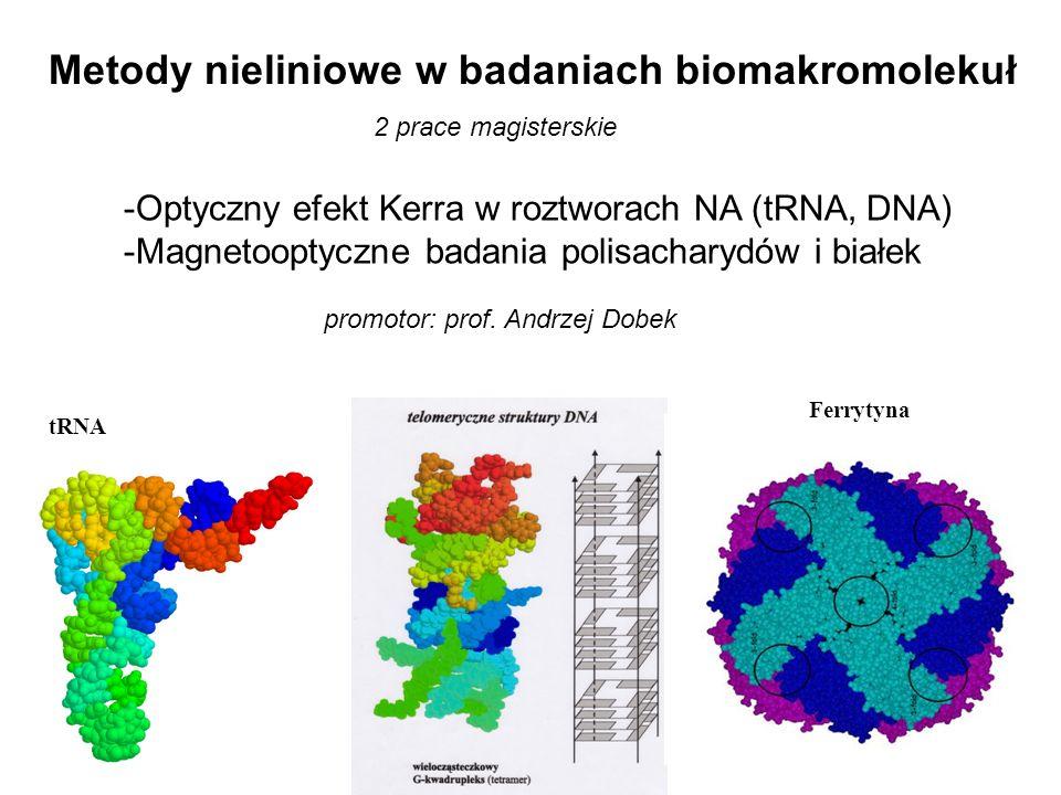 -Optyczny efekt Kerra w roztworach NA (tRNA, DNA) -Magnetooptyczne badania polisacharydów i białek Metody nieliniowe w badaniach biomakromolekuł 2 pra