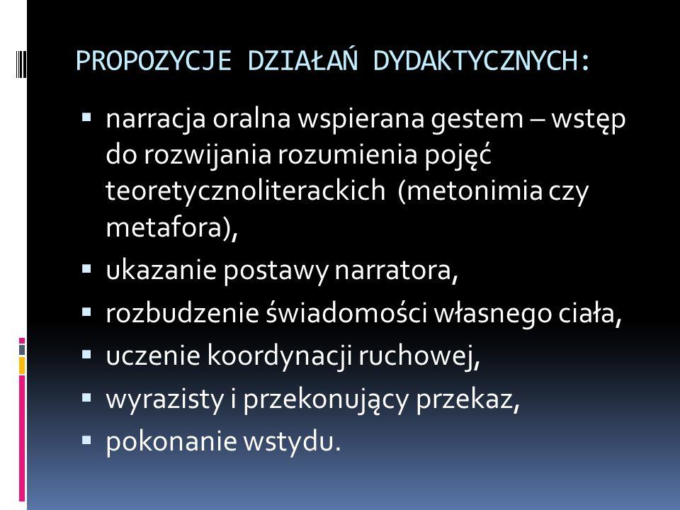 PROPOZYCJE DZIAŁAŃ DYDAKTYCZNYCH: narracja oralna wspierana gestem – wstęp do rozwijania rozumienia pojęć teoretycznoliterackich (metonimia czy metafo