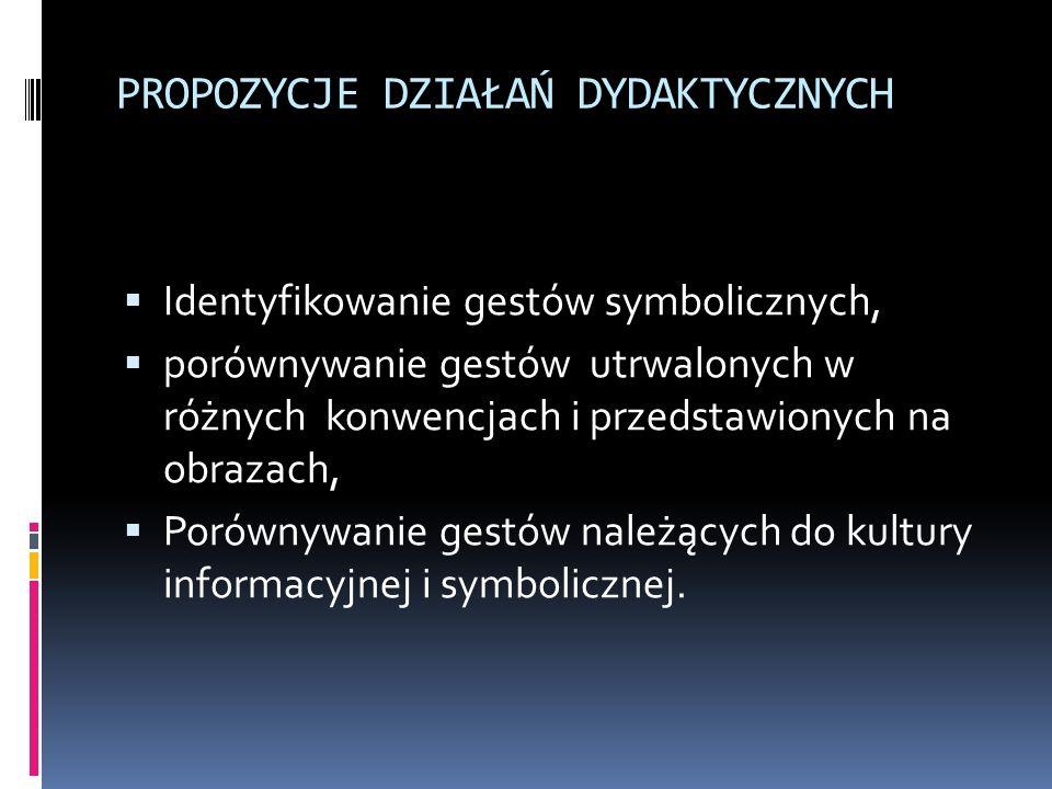 PROPOZYCJE DZIAŁAŃ DYDAKTYCZNYCH Identyfikowanie gestów symbolicznych, porównywanie gestów utrwalonych w różnych konwencjach i przedstawionych na obra