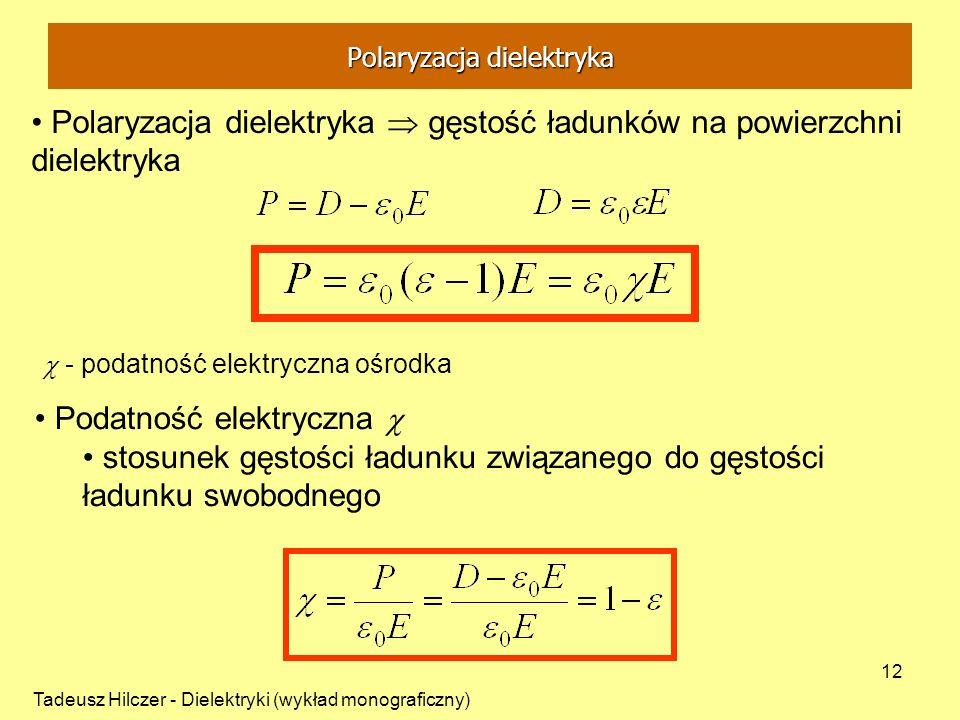 Tadeusz Hilczer - Dielektryki (wykład monograficzny) 12 Polaryzacja dielektryka gęstość ładunków na powierzchni dielektryka - podatność elektryczna oś