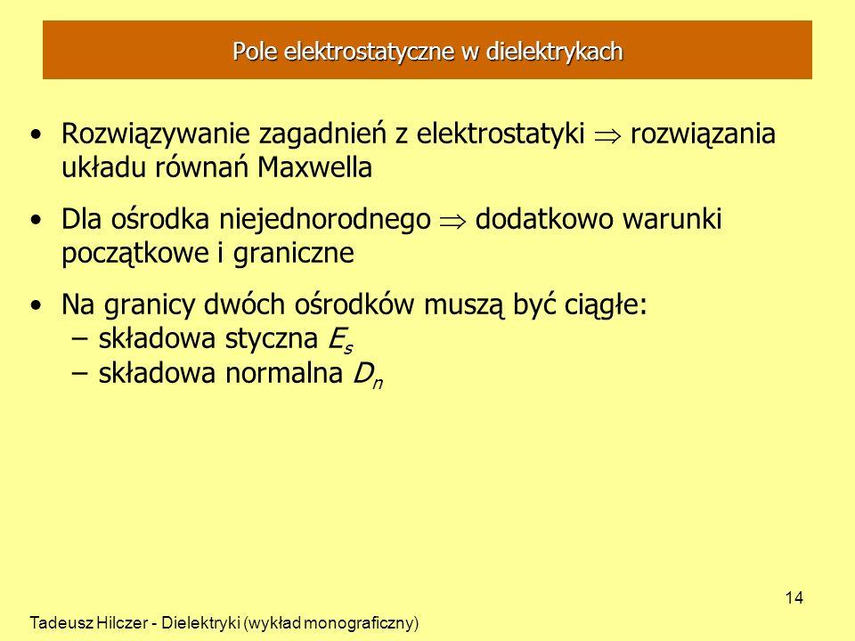 Tadeusz Hilczer - Dielektryki (wykład monograficzny) 14 Pole elektrostatyczne w dielektrykach Rozwiązywanie zagadnień z elektrostatyki rozwiązania ukł