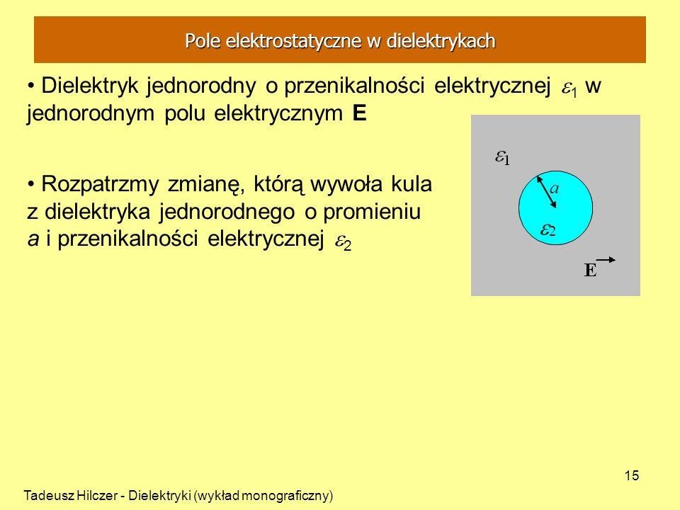 Tadeusz Hilczer - Dielektryki (wykład monograficzny) 15 Dielektryk jednorodny o przenikalności elektrycznej 1 w jednorodnym polu elektrycznym E Rozpat