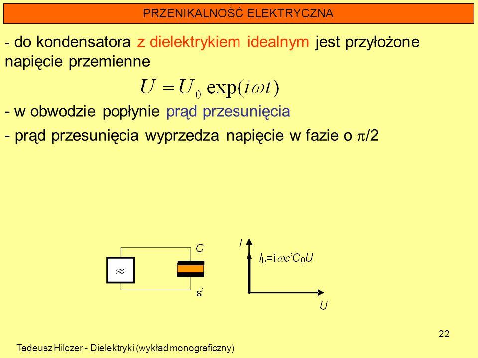 Tadeusz Hilczer - Dielektryki (wykład monograficzny) 22 PRZENIKALNOŚĆ ELEKTRYCZNA - do kondensatora z dielektrykiem idealnym jest przyłożone napięcie