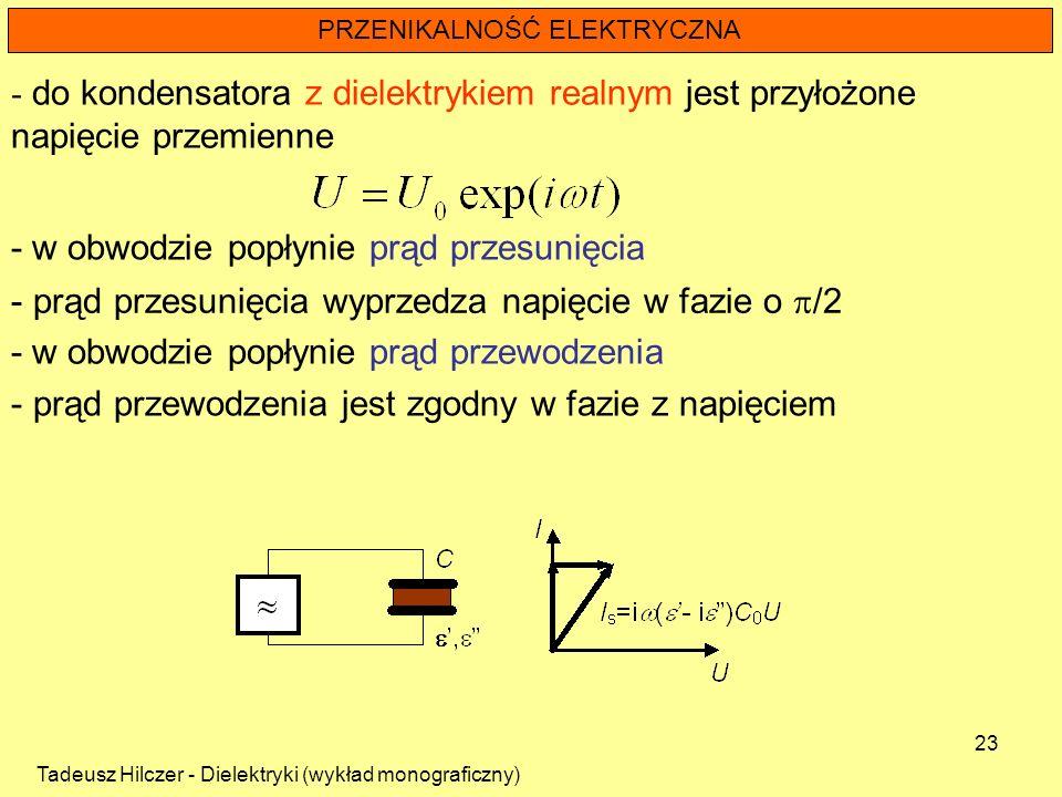 Tadeusz Hilczer - Dielektryki (wykład monograficzny) 23 PRZENIKALNOŚĆ ELEKTRYCZNA - do kondensatora z dielektrykiem realnym jest przyłożone napięcie p