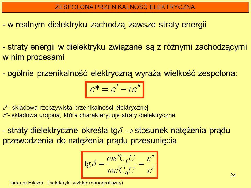 Tadeusz Hilczer - Dielektryki (wykład monograficzny) 24 ZESPOLONA PRZENIKALNOŚĆ ELEKTRYCZNA - straty energii w dielektryku związane są z różnymi zacho