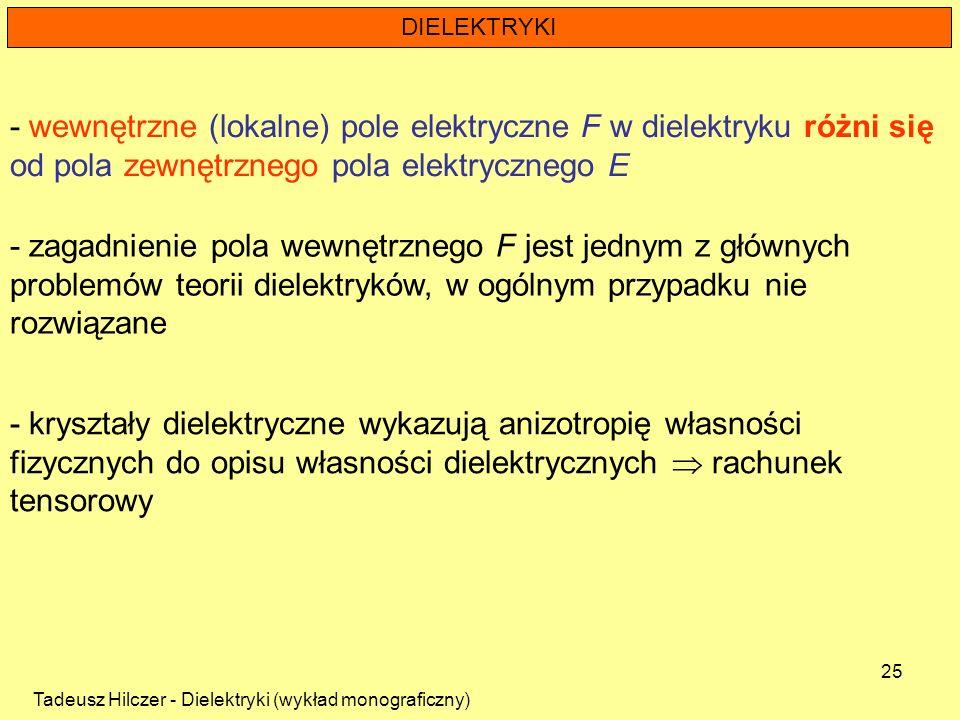 Tadeusz Hilczer - Dielektryki (wykład monograficzny) 25 DIELEKTRYKI - kryształy dielektryczne wykazują anizotropię własności fizycznych do opisu własn