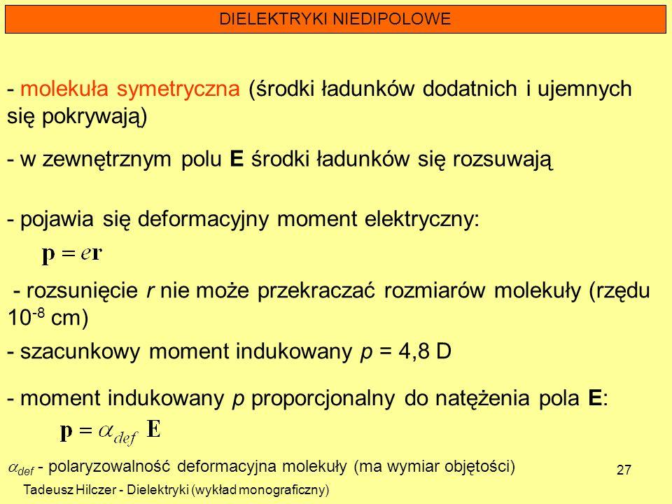 Tadeusz Hilczer - Dielektryki (wykład monograficzny) 27 DIELEKTRYKI NIEDIPOLOWE - molekuła symetryczna (środki ładunków dodatnich i ujemnych się pokry