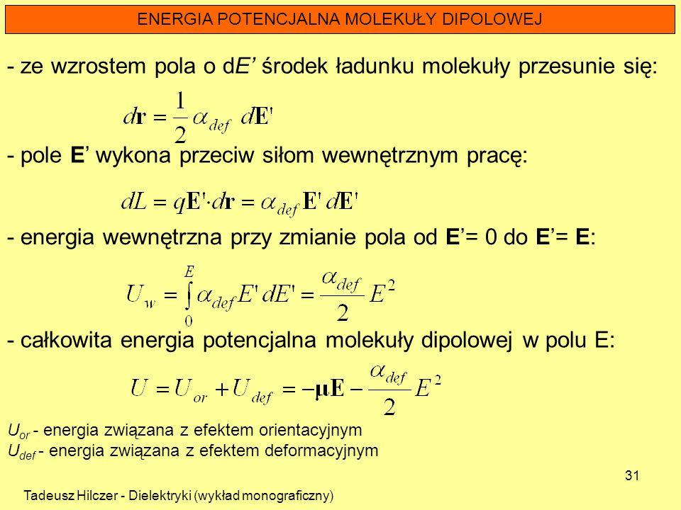 Tadeusz Hilczer - Dielektryki (wykład monograficzny) 31 ENERGIA POTENCJALNA MOLEKUŁY DIPOLOWEJ - ze wzrostem pola o dE środek ładunku molekuły przesun