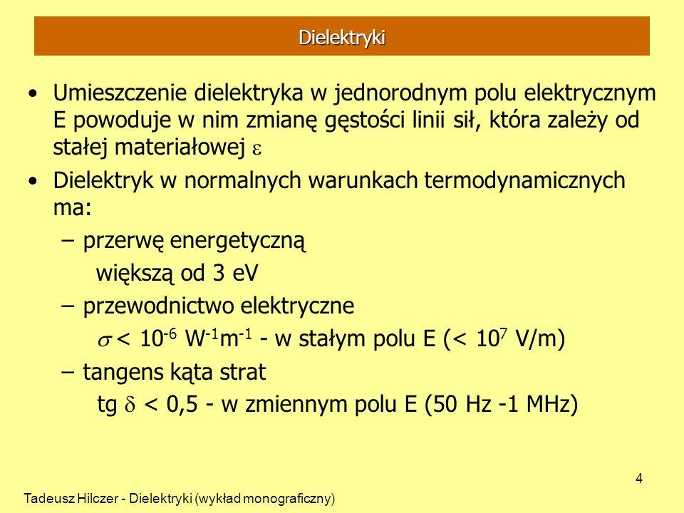 Tadeusz Hilczer - Dielektryki (wykład monograficzny) 5 Przenikalność elektryczna Pole jednorodne E w kondensatorze płaskim U - przyłożone napięcie, d – odległość między okładkami Między okładkami próżnia na okładkach zgromadzony jest ładunek elektryczny Q 0 S – powierzchnia elektrod, 0 - przenikalność elektryczna próżni (stała dielektryczna próżni) 0 = 8,854 10 -12 F/m