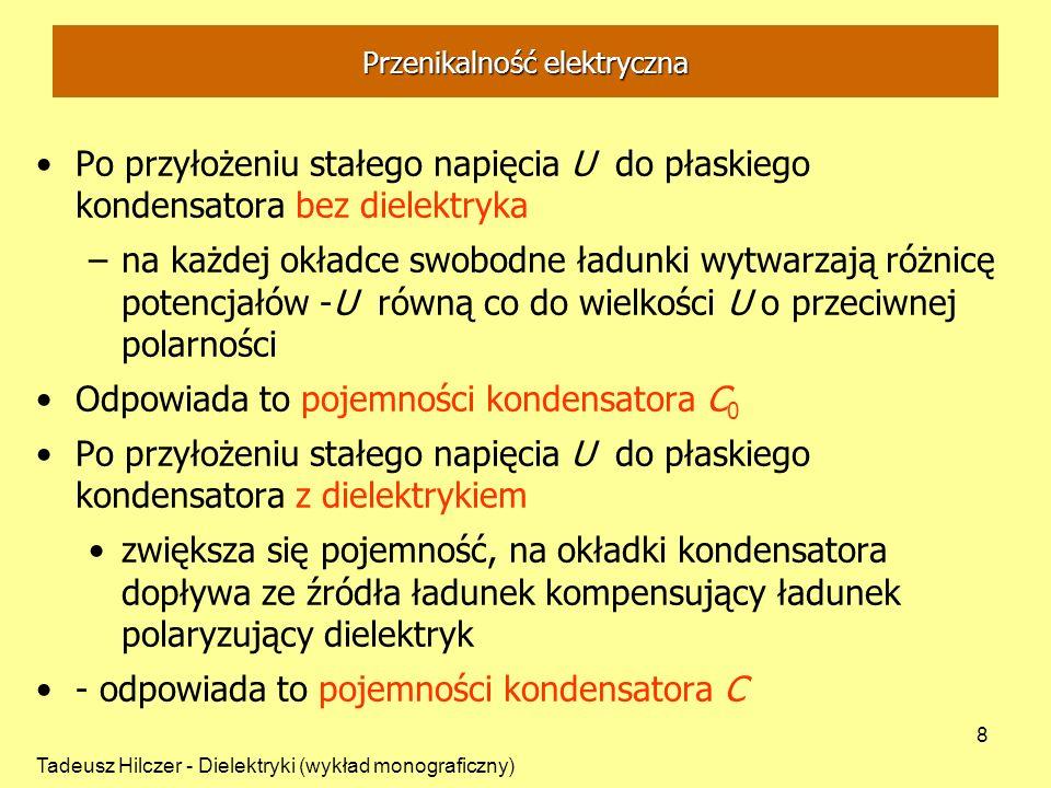 Tadeusz Hilczer - Dielektryki (wykład monograficzny) 9 Polaryzacja dielektryka Zjawisko polaryzacji dielektryka: orientacja dipoli elektrycznych pod wpływem przyłożonego pola E Wielkość fizyczna - polaryzacja dielektryczna P: moment dipolowy jednostki objętości dielektryka gęstość powierzchniowa ładunku E = 0 brak uporządkowania