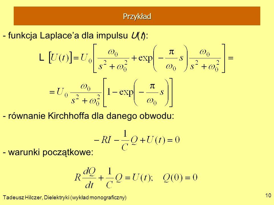 Tadeusz Hilczer, Dielektryki (wykład monograficzny) 10 - funkcja Laplacea dla impulsu U(t): - równanie Kirchhoffa dla danego obwodu: - warunki początk