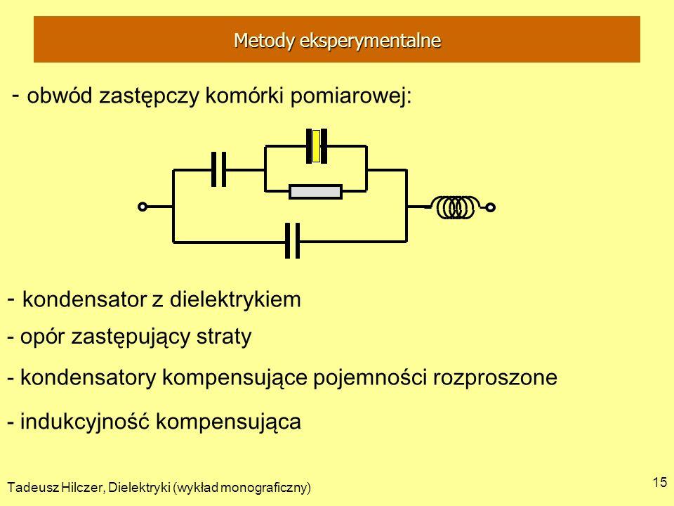 Tadeusz Hilczer, Dielektryki (wykład monograficzny) 15 - obw ó d zastępczy kom ó rki pomiarowej: - kondensator z dielektrykiem - op ó r zastępujący st