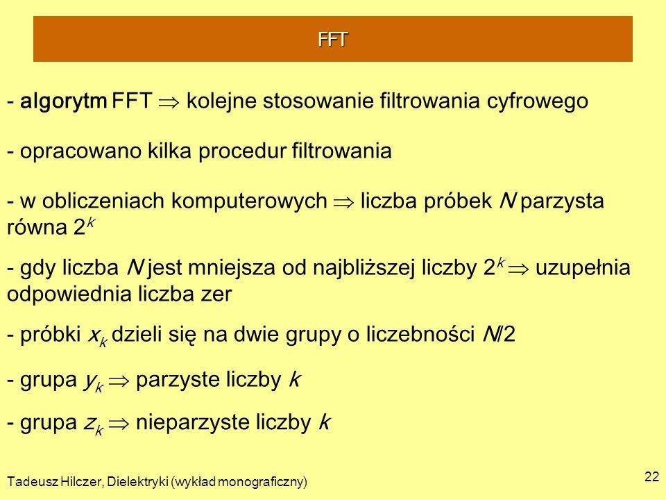 Tadeusz Hilczer, Dielektryki (wykład monograficzny) 22 - algorytm FFT kolejne stosowanie filtrowania cyfrowego - opracowano kilka procedur filtrowania