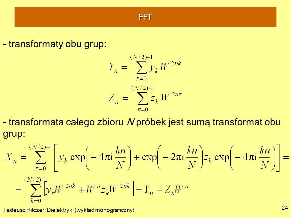 Tadeusz Hilczer, Dielektryki (wykład monograficzny) 24 - transformaty obu grup: - transformata całego zbioru N próbek jest sumą transformat obu grup: FFT