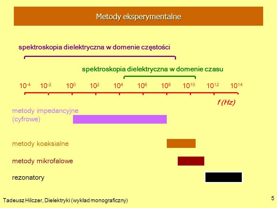Tadeusz Hilczer, Dielektryki (wykład monograficzny) 6 - komórka pomiarowa jest kondensatorem : - zespolona impedancja Z obwodu odwrotność zespolonej admitancji Y: - pomiędzy okładkami znajduje się dielektryk rzeczywisty - kondensator ma określone straty układem zastępczym jest oporność R równolegle połączona do pojemności C R C - konduktancja G: Y = G + i C Metody eksperymentalne