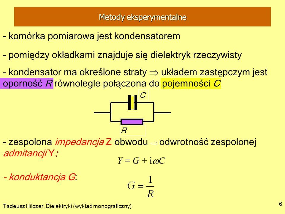 Tadeusz Hilczer, Dielektryki (wykład monograficzny) 6 - komórka pomiarowa jest kondensatorem : - zespolona impedancja Z obwodu odwrotność zespolonej a