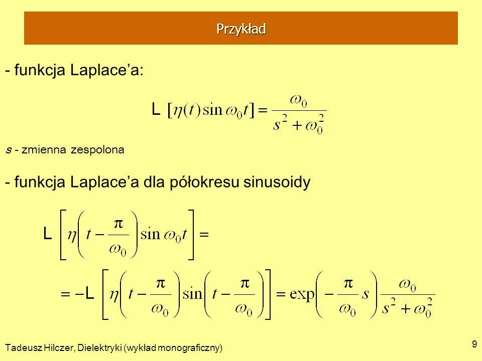 Tadeusz Hilczer, Dielektryki (wykład monograficzny) 9 - funkcja Laplacea: s - zmienna zespolona - funkcja Laplacea dla półokresu sinusoidy Przykład