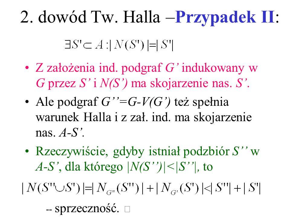 2. dowód Tw. Halla Indukcja względem |A|; prawda dla |A|=1. Niech |A|>1 i załóżmy prawdziwość dla <|A|. Dwa przypadki I. Warunek Halla zachodzi z nadm